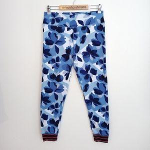 Aerie Floral Blue Leggings Striped Cuffs Large